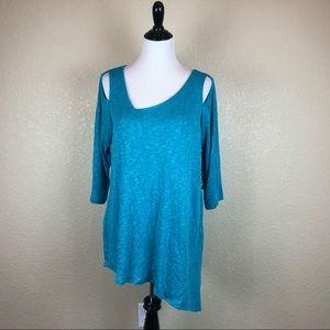 Sympli Womens Blouse Tunic Top 3/4 Sleeve Blue 12